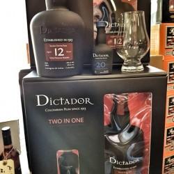 Dictador Solera Ultra Premium Reserve 12 år gaveæske med 5 cl. 20 års Dicatador og et romglas