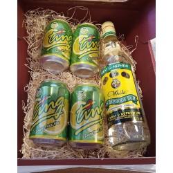 Wray & Nephew overproof med fire soda i gaveæske